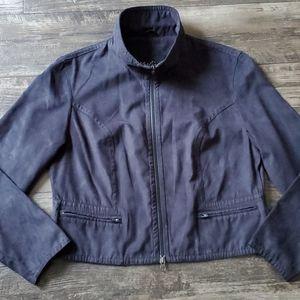 Vintage Kaelin Micro-Suede Bomber Zip Jacket